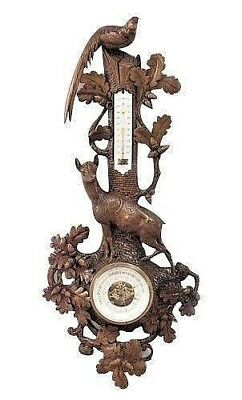 Rustic Black Forest (Late 19th Cent) Walnut Wall Barometer/Thermometer