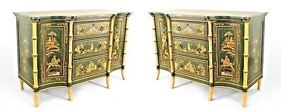 Pair of English Regency style green lacquered Chinoiserie design commodes with 2