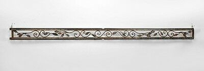 French Art Deco hammered steel valance with scrolling leafy vine open frieze and