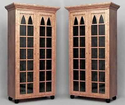 Pair of German Biedermeier (19th Cent) Flame Birch Gothic Arch Design