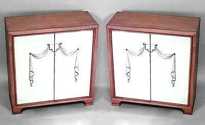 Pair of French 1940s Oak Commodes with 2 Mirrored Doors