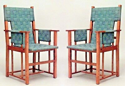 2 Pair of English Arts & Crafts blond wood arm chairs with woven green strap sea