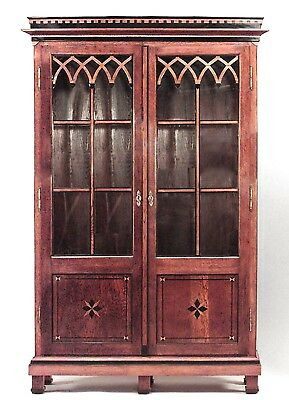 Continental Austrian Neo-classical style oak bookcase cabinet with geometric inl