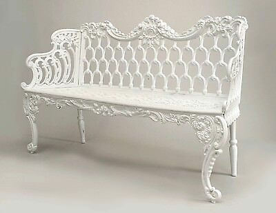 Pair of English Victorian  Painted Cast Iron Settees with Scroll Design