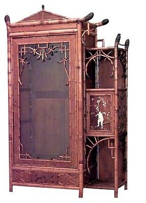 Bamboo (English Victorian) single glass door armoire cabinet with pediment top a
