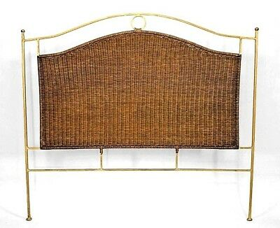 Contemporary Natural Wicker Queen Size Headboard with a Shaped Gold Painted Iron