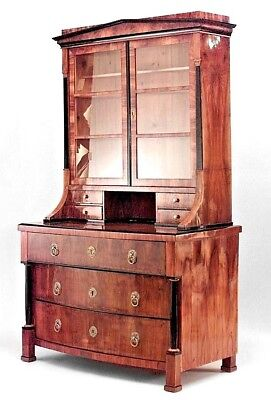 Austrian Biedermeier Walnut Veneer and Ebonized Trimmed Bookcase (Circa 1825)