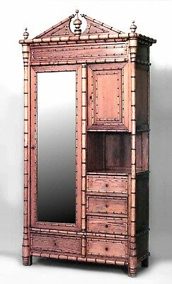 French Victorian faux bamboo pine and maple trimmed armoire cabinet with large m