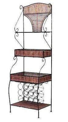 English Country style slat twig and iron etagere (bakery rack) with 3 shelves an