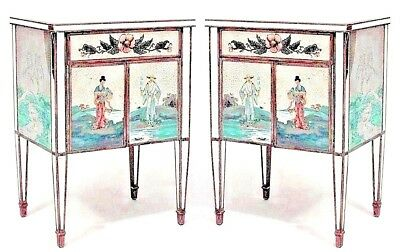 Pair of Italian 1940s Mirrored Bedside Commodes with Floral Decor (As Is)