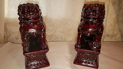 Pair New/Red Chinese Feng Shui Foo / Fu Lion Dogs Temple, Guardian Lions