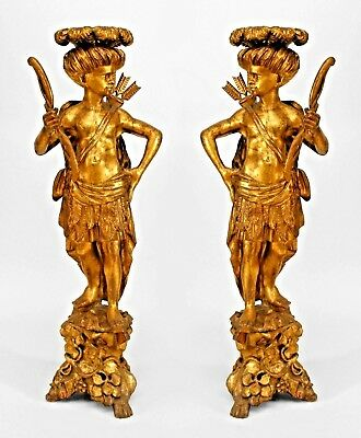 Pair of Italian Venetian (18/19th Cent) Carved Gilt Large Blackamoor Figures