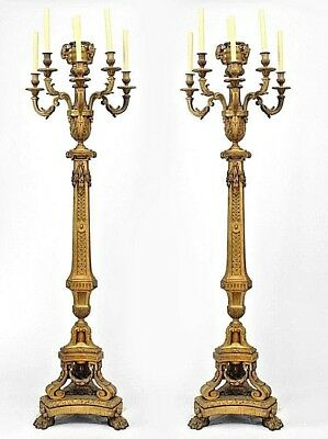 Pair of French Louis XVI style (19th Cent) bronze festoon design floor torchiere