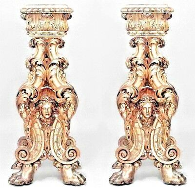 Pair of Italian Baroque Style (Roman, 19th Century) Gilt Wood Pedestals