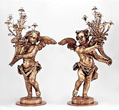 Pair of French Louis XV Style (19th Cent) Carved Gilt Floor Torchiere