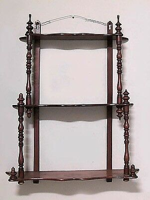 American Victorian Mahogany 3 Tier Graduated Wall Shelf With Finials