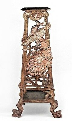 Italian Venetian Grotto (19th cent.) carved silver gilt and red polychromed pede