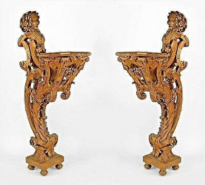 Pair of French Louis XV Style Carved Gilt Rococo Bracket Pedestals