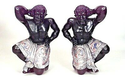 Pair of Italian Venetian Style (19th Cent) Ebonized Life-Size Blackamoor Figures