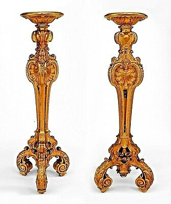 Pair of French Louis XV Style (19th Cent) Large Gilt Triple Scroll Leg Pedestals