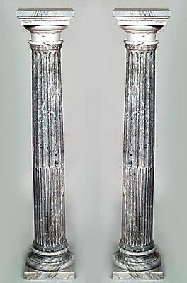 Pair of French Louis XVI Style (19/20th Cent)Grey Marble Fluted Column Pedestals