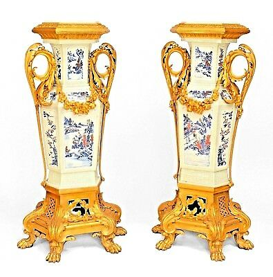 Pair of French Louis XV style (19th Cent) Asian Chinese Style Pedestals