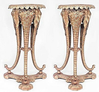 Pair of English Regency Style Gold Painted Bronze Tripod Pedestals