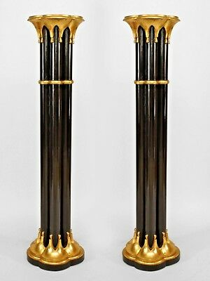 Pairs of English Chinese Chippendale Style 5 Column Pedestals