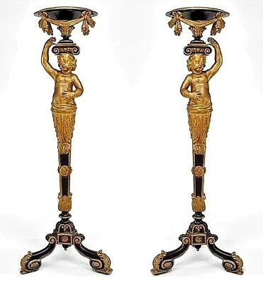 Pair of French Victorian Gilt & Black Trimmed Cupid Pedestals