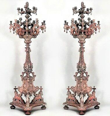 Pair of Italian Baroque Style 24 Arm Floor Torchiere