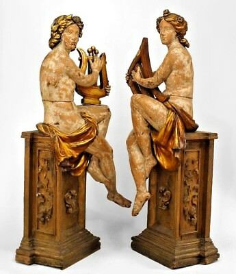 Pair of French Victorian Stripped Life Size Carved Male and Female Figures