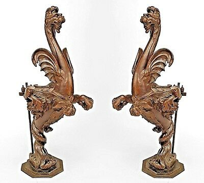 Pair of Italian Renaissance Style (19th Cent) Mythological Life Size Gargoyle