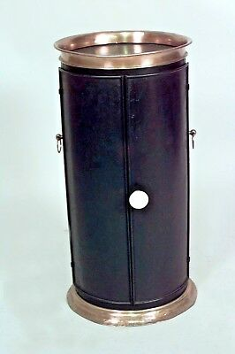 English Victorian Style Iron and Brass Trimmed Plate Warmer Pedestal with Door