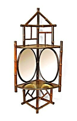 Bamboo small corner wall shelf with 2 oval mirrors (19/20th Cent.)