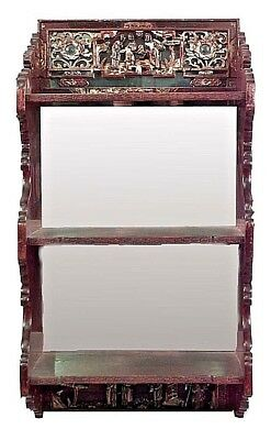 Asian Chinese Style (19th Cent.) Lacquered/Gilt Carved Wall Shelves and Mirror