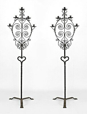 Pair of Italian Renaissance (20th Cent) Style Wrought Iron Floor Torchiere