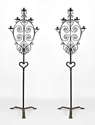 Pair of Italian Renaissance (20th Cent) Style Wrought Iron Floor Torchiere with