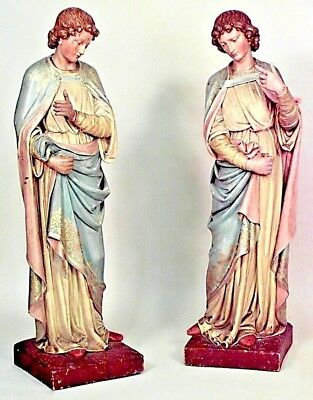 Pair of Italian Renaissance Style Polychromed Large Standing Religious Figures