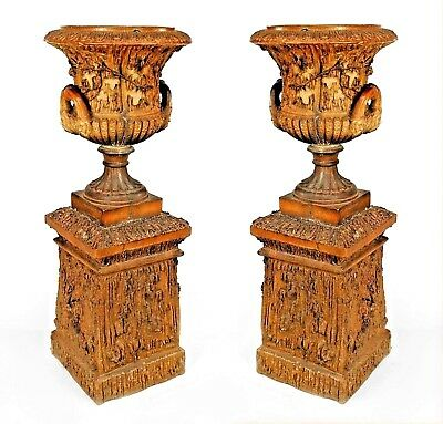 Pair of Outdoor English Victorian Porcelain Faux Wood Urns