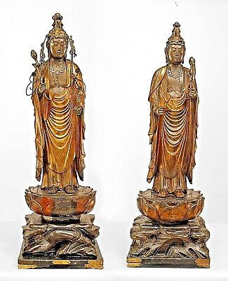 Pair of Asian Chinese Style (18/19th Cent) Gilt Deity/Priest Figures