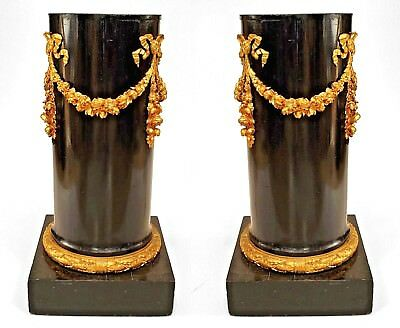 Pair of French Empire Black Lacquer Column Pedestals
