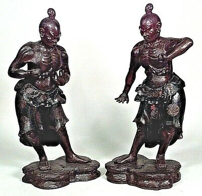 Pair of Large Asian Chinese Style (18th Cent) Carved & Lacquered Warrior Figure