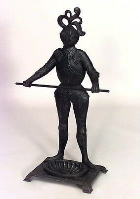 English Renaissance style (20th Cent) wrought iron knight figure umbrella stand
