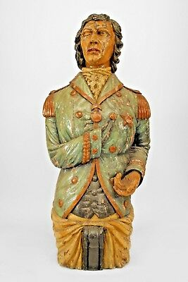 English Carved and Painted Large Figurehead of Lord Nelson (19th Cent.)