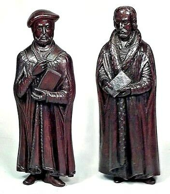 Pair of Small English Renaissance Style (19th Cent) Walnut Figures of Scholars w