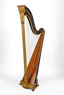 Italian Rococo Style Fruitwood and Green Painted Harp with Gilt Trim (19th Cent)