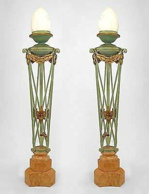 Pair of Italian Neo-classic Style (19th Cent) Green & Gold Iron Floor Lamps