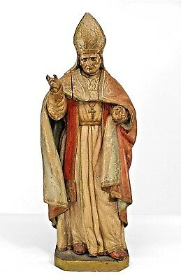Italian Renaissance Style (19th Cent) Polychromed Small Carved Figure of Pope