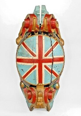 English Carved and Painted Large Figurehead of Union Jack (19th Cent.)