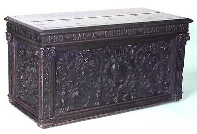 Italian Renaissance Style (17th Cent.) Walnut Carved Cassone Style Floor Trunk